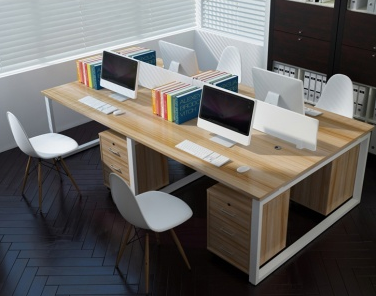 現代簡約口字型鋼架職員位/四人辦公桌